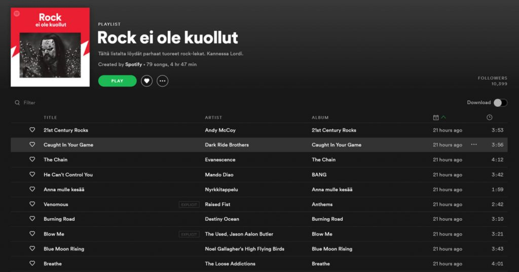 Dark Ride Brothers Spotify Rock Ei Ole Kuollut Caught In Your Game